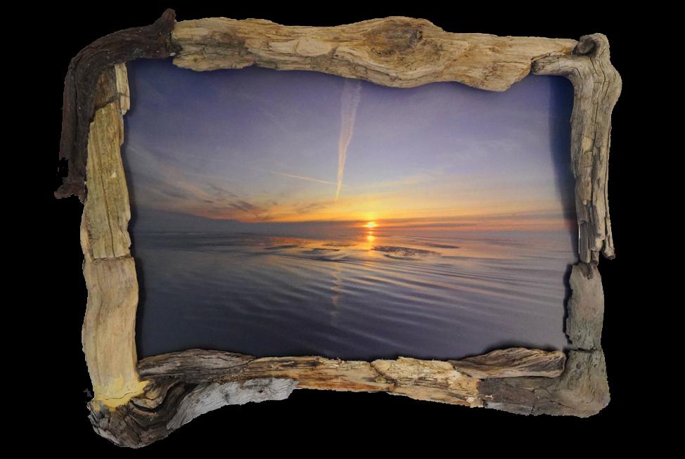 Zonsondergang – (Friesche Wad) - foto op drijfhout