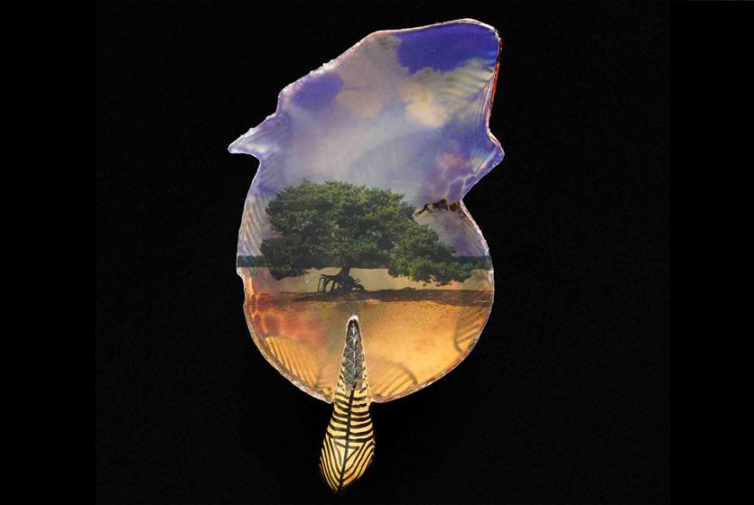 Soestduinen - foto op bladvorm - uit installatie De Stikstofboom